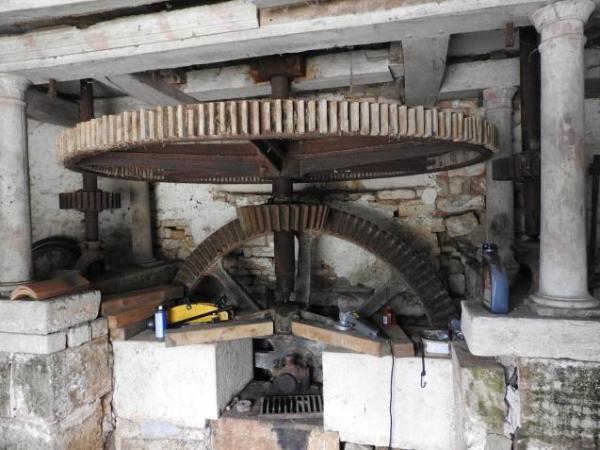 Inside the Moulin old mill wheel