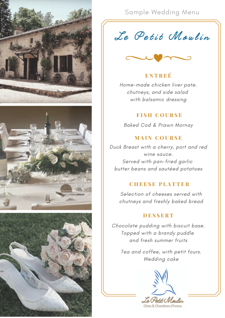 French country wedding Le Petit Moulin sample menu